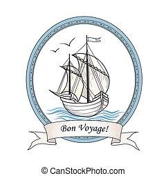Sailing ship. Summer holiday Bon Voyage card. Sail boat transport.  Marine travel.