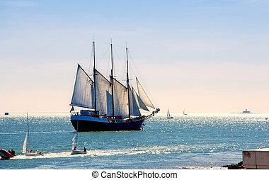 Sailing ship - Tall sail ship sailing on the Lisbon bay of ...