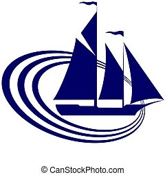 Sailing ship - The contour of the ancient sailing ship. ...