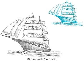 Sailing ship under sails in sea, sketch image