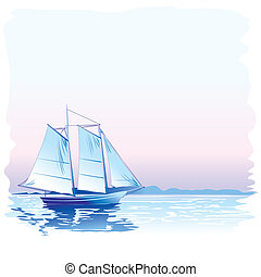 Sailing Ship, editable vector illustration