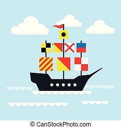 Sailing ship. Vector illustration