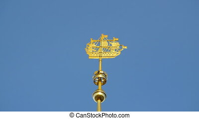 sailing ship weather vane on the spire of the Admiralty