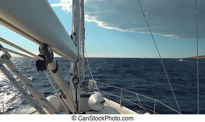 Sailing. Ship yachts with white sails in the Sea. Luxury...
