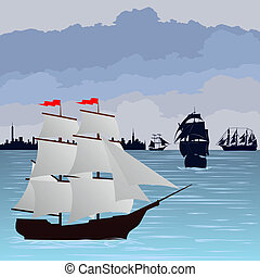 Sailing ships at sea
