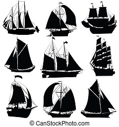 Sailing ships silhouettes collection, isolated objects on white background
