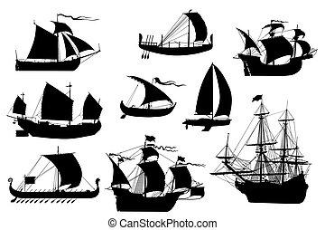 Sailing ships collection - Sailing ships silhouettes...