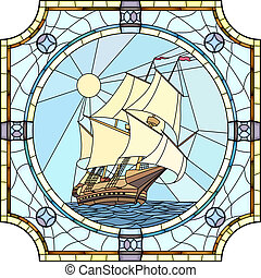 Sailing ships of the 17th century. - Vector mosaic with...