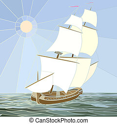 Sailing ships of the 17th century.