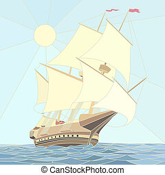 Illustration of sailing ships of the 17th century as vector mosaic with large cells.