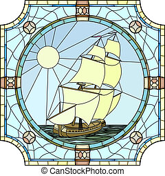 Vector mosaic with large cells of sailing ships of the 17th century in round stained-glass window frame.