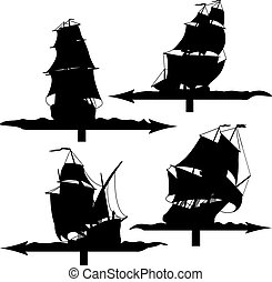 Sailing ships weather vanes.