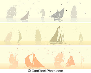 Sailing ships with birds.