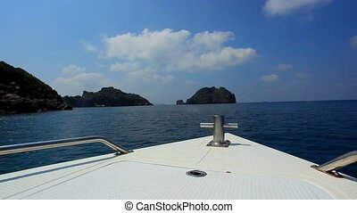 Sailing speedboat to the islands in ocean - Sailing...