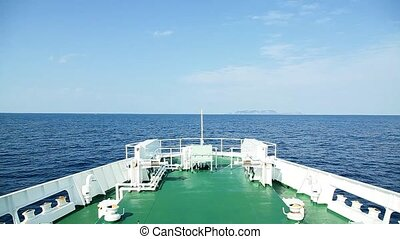 sailing on the ferryboat in sunny day