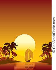 Sailing - Summer scene: sailing yacht, sunset and island...