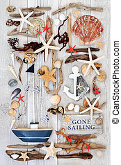 Sailing Themed Seaside Abstract - Sailing themed seaside...