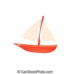Sailing Toy Boat With White Sails