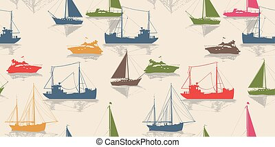 Sailing vector seamless pattern