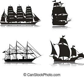 Sailing vector silhouettes
