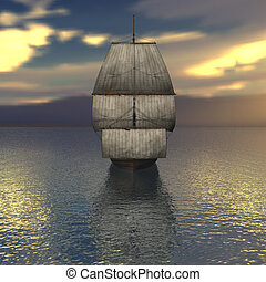 Sailing vessel in the sea