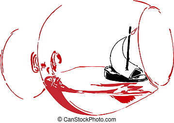Sailing vessel in a glass - sailboat in a glass of red wine...