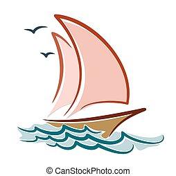 Sailing vessel in sea.