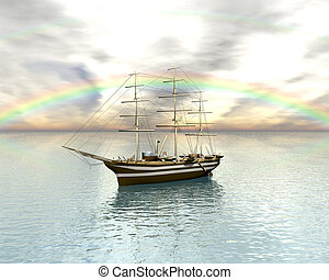 Sailing vessel in the rainbow sea