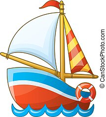 Sailing vessel isolated on white background. Cartoon vector...