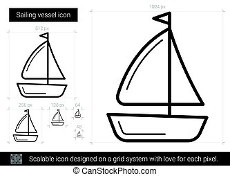 Sailing vessel line icon.