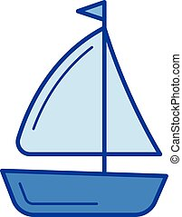 Sailing vessel line icon. - Sailing vessel vector line icon...