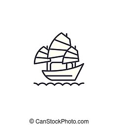 Sailing vessel linear icon concept. Sailing vessel line vector sign, symbol, illustration.