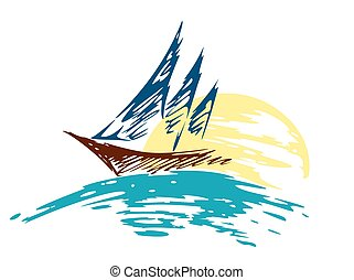 sailing vessel Logo in the sea.