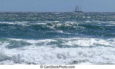 Sailing Vessel On Sea Waves.