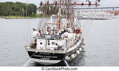 sailing vessel Stavros S Niarchos floats in gulf of Stavanger