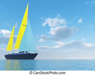sailing vessel travelling on ocean on a background of the cloudy blue sky