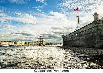"""Sailing vessel """"Tre Cronor"""" in the waters of the Neva River in S"""