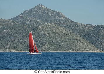 Sailing yacht around the beautiful