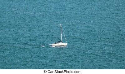 Sailing Yacht at Ocean
