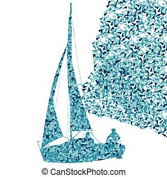 Sailing yacht, boat ship vector background concept made of fragments