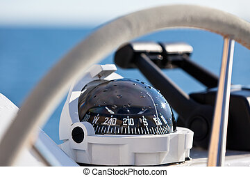 Sailing yacht control wheel and implement. Horizontal shot ...