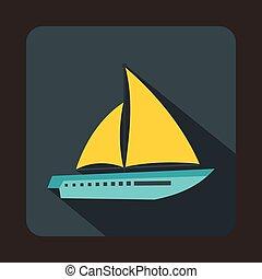 Sailing yacht icon, flat style