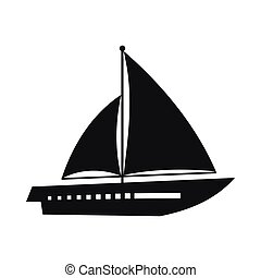 Sailing yacht icon, simple style