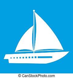 Sailing yacht icon white