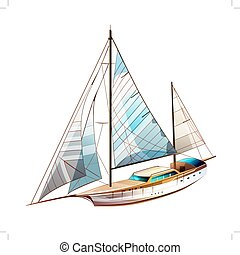 Sailing Yacht Illustration