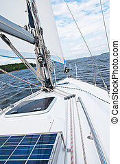 Sailing yacht in the Gulf - Trip on a yacht along the coast...