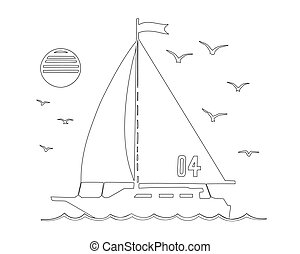 Sailing yacht in the sea silhouette line art