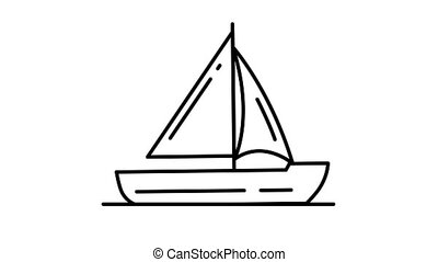 Sailing Yacht line icon is one of the Transportation icon set. File contains alpha channel. From 2 to 6 seconds - loop.