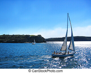 Sailing - Yacht Moving out to Sea
