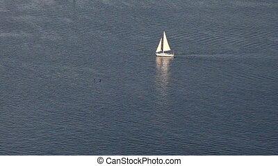 Sailing yacht on blue ocean pattern
